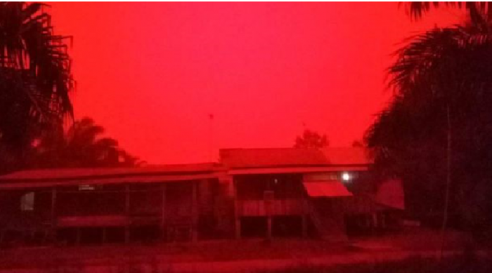 Jambi turned blood red over the weekend (Image courtesy: Twitter/MdSharifKhan)