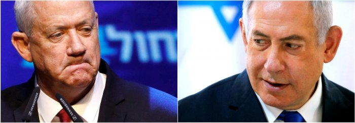 Blue and White party leader Benny Gantz in Tel Aviv, Israel September 18, 2019,and Israeli Prime Minister Benjamin Netanyahu in the Jordan Valley, in the Israeli-occupied West Bank. (Reuters Photo)