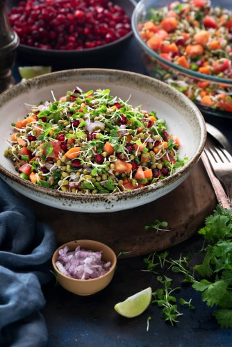 A healthy way to consume moong dal is to make it into salad.