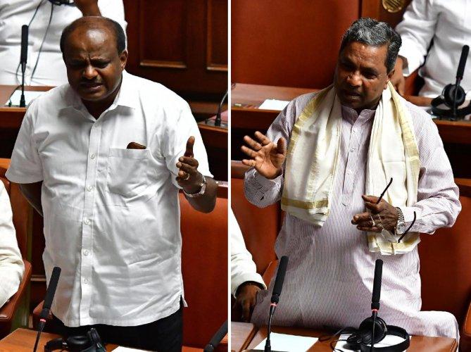 Former Karnataka Chief Ministers HD Kumaraswamy (L) and Siddaramaiah (R) (DH Images)