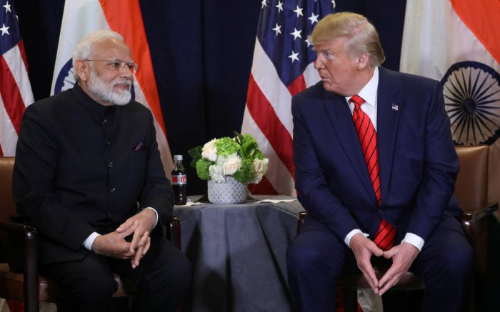 U.S. President Donald Trump holds a bilateral meeting with India's Prime Minister Narendra Modi on the sidelines of the annual United Nations General Assembly in New York City. (Reuters Photo)