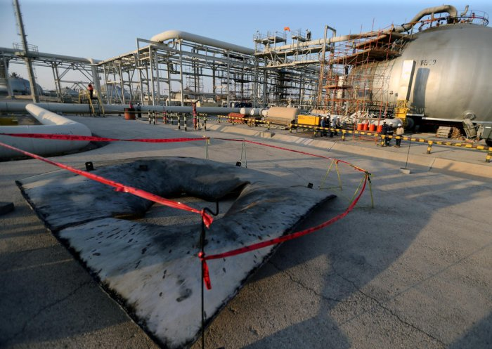 Metal part of a damaged tank is seen at the damaged site of Saudi Aramco oil facility in Abqaiq, Saudi Arabia, September 20, 2019. (REUTERS File Photo)