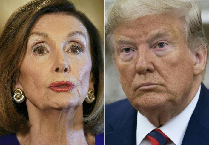 US Speaker of the House Nancy Pelosi, Democrat of California, and US President Donald Trump (AFP Photo)