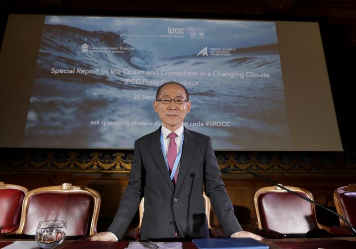 Chair of IPCC Hoesung Lee is seen before a news conference to present a special report on the Ocean and Cryosphere in a Changing Climate Context as part of the 51st Session of the Intergovernmental Panel on Climate Change (IPCC) in Monaco, September 25, 2