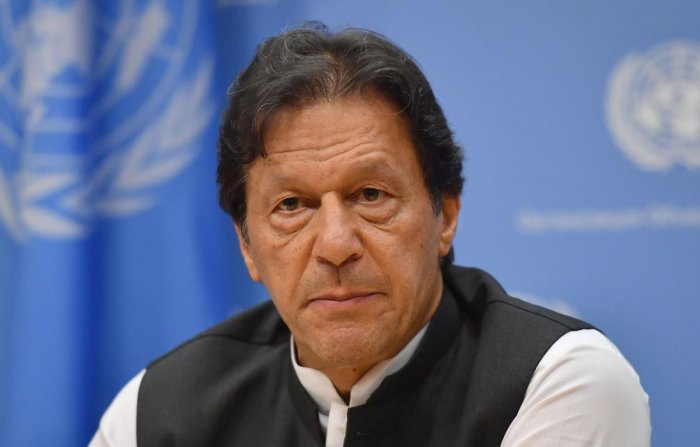 Pakistani Prime Minister Imran Khan speaks during a press conference at the United Nations Headquarters in New York on September 24, 2019. (AFP)
