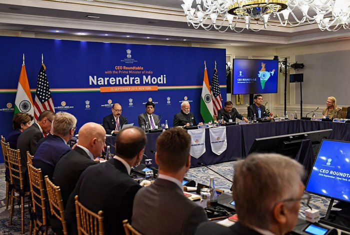 Prime Minister Narendra Modi in a roundtable meeting with the CEOs, in New York, Wednesday, Sept. 25, 2019. (PIB/PTI Photo)