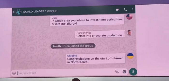 Volodymyr Zelensky starts his presentation with a video of an imaginary Whasapp group chat (Screengrab frm Youtube video)