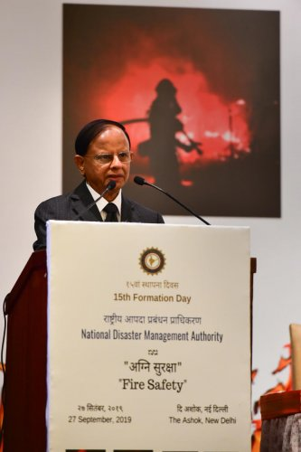 Additional Principal Secretary to Prime Minister of India, P K Mishra addresses a gathering on the occasion of National Disaster Management Authority (NDMA)'s 15th Formation Day, in New Delhi. PTI