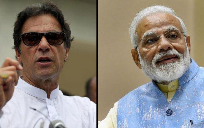 Prime Minister Narendra Modi (R) and Imran Khan, Prime Minister of Pakistan (L)