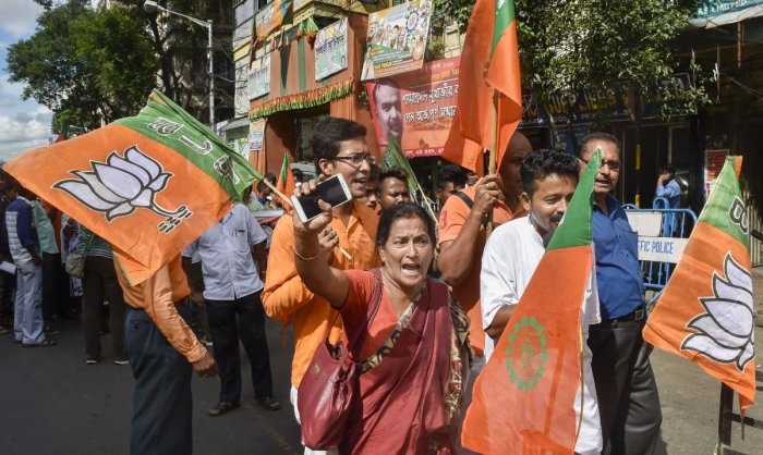 BJP workers raise slogans during a protest rally against the alleged attack on BJP MP Arjun Singh, in Kolkata, Monday, Sept 02, 2019. PTI