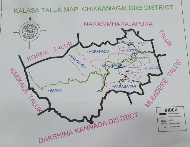 The map of Kalasa taluk for approval.