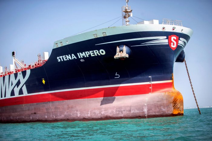 The CEO of Stena Bulk, the Swedish company that owns the vessel, said it had reached international waters at around 0945 GMT and was headed for Dubai. (Reuters File Photo)