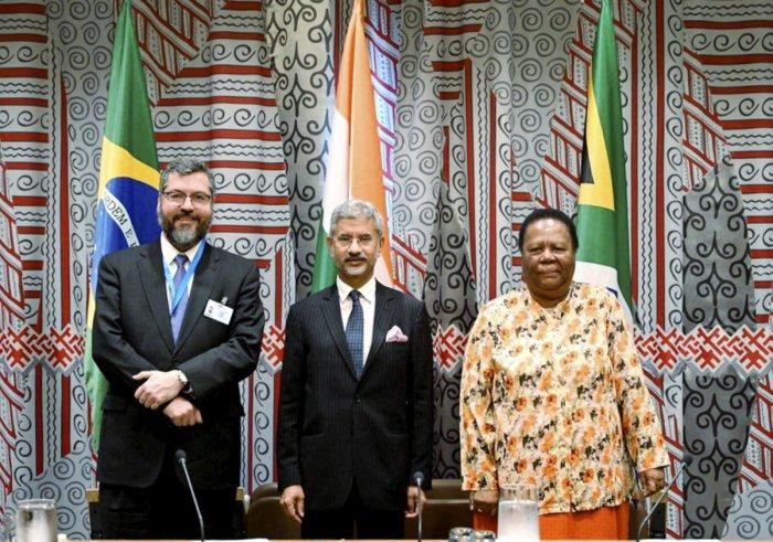 External Affairs Minister S Jaishankar take part in the BRICS Ministerial Meeting, in New York, Thursday, Sept. 26, 2019. Twitter/PTI Photo