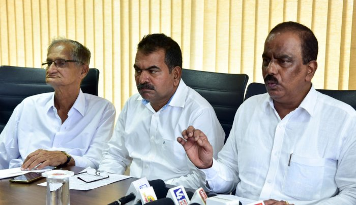 Dakshina Kannada Milk Producers Union Ltd President K Raviraj Hegde speaks to mediapersons at DKMUL unit, at Kulashekar in Mangaluru on FRiday. DH Photo