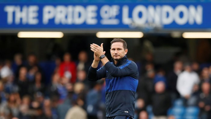 Chelsea manager Frank Lampard applauds the fans after the match. (Reuters Photo)