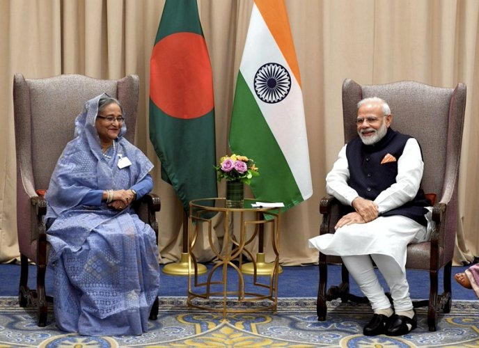 Prime Minister Narendra Modi with his Bangladeshi counterpart Sheikh Hasina, in New York. (PTI Photo)
