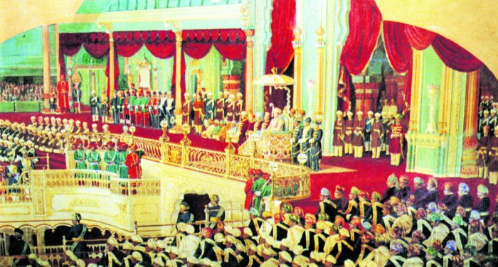 A durbar during Dasara in Mysore Palace. Photo courtesy: The Royal City by TP Issar