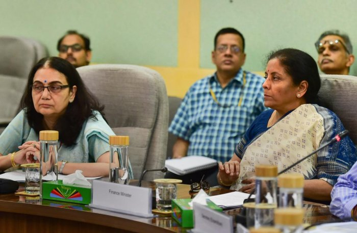 Finance Minister Nirmala Sitharaman chairs a meeting with secretaries and financial advisors of key ministries to review the total CapEx by the ministries in 2019-20, in New Delhi, Friday, Sept. 27, 2019. (PTI Photo)