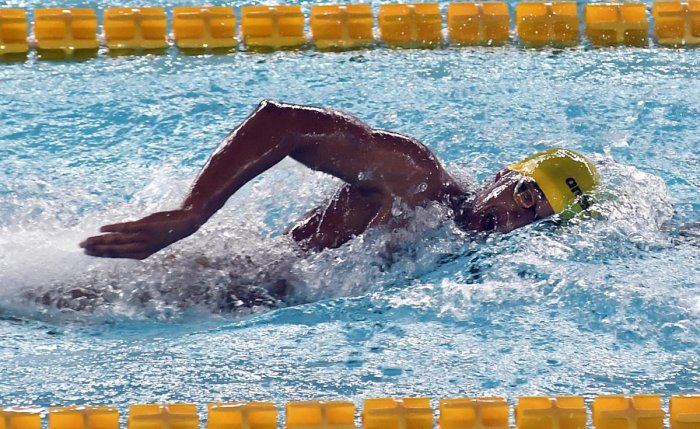 Kushagra Rawat, 20 years old, dished out a fine display in the just-concluded 10th Asian Group Swimming Championships, bagging five gold medals. DH PHOTO/ SRIKANTA SHARMA R