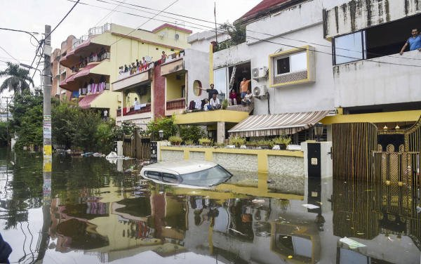 A view of a flood-affected colony at Rajendra Nagar in Patna on September 30. (Photo/PTI)