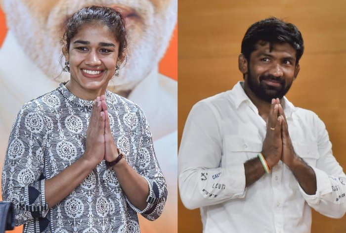 Wrestler Babita Phogat (L) and Olympic medallist wrestler Yogeshwar Dutt make it to the list of candidates for Haryana Assembly polls. (PTI Photos)