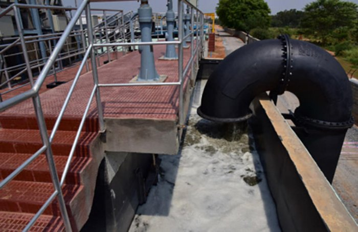 Waste water let into the sewage treatment plant in Bellandur; a view of the treatment plant. dh photos/s k dinesh