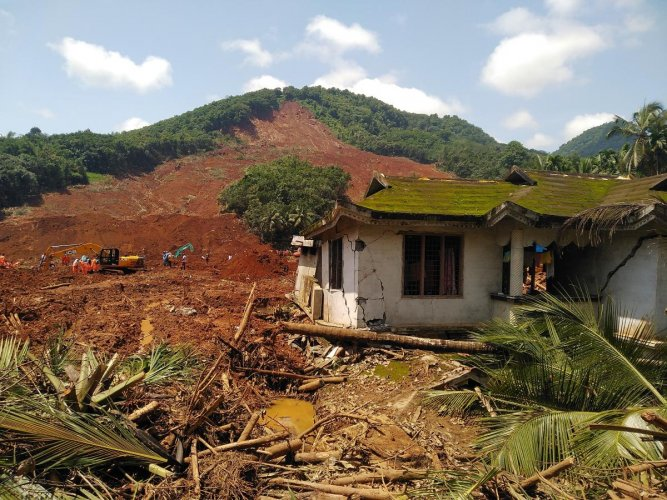 Earth and rocks have caved in over 40 houses in Kavalappara in Malappuram district in Kerala; the landslide at Makki and Parla, two villages situated atop a hill in the Western Ghats, has led to large-scale erosion and turned a minor stream into river in