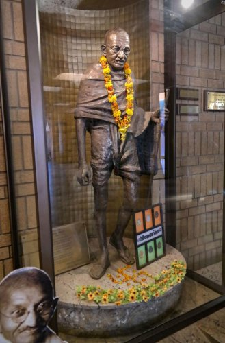 A statue of Mahatma Gandhi in the foyer of the Gandhi Hall in Lenasia, Johannesburg, South Africa. (PTI Photo)