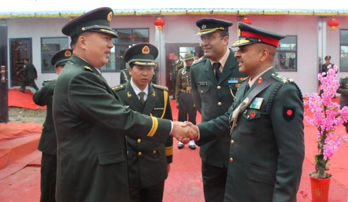 The meetings were held at Nathu La, Bum La and Kibithu in Arunachal Pradesh, situated at over 4,000 metresabove mean sea level, to celebrate Chinese National Day. (Photo credit: Indian Army)