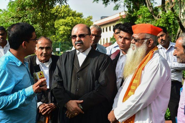 Hindu Mahasabha's advocate Varun Kumar Sinha after a hearing on Ayodhya land dispute case, at Supreme Court in New Delhi. (PTI Photo)