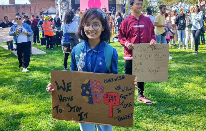 Ridhima Pandey protesting with other young activists in New York.