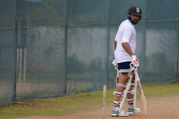 Rohit Sharma bats in the nets during a practice session prior to the first Test between India and South Africa in Visakhapatnam. Credit: AFP