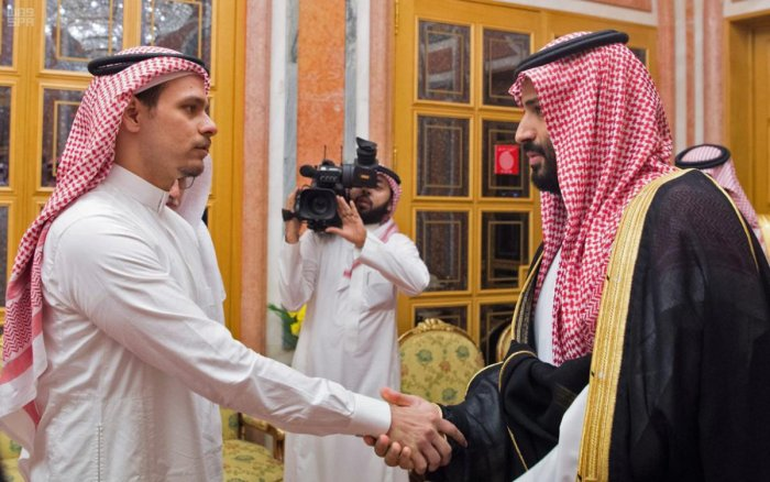 Saudi Crown Prince Mohammed bin Salman meeting Khashoggi's son Salah at the royal palace, state-run news agency SPA reported. The report said King Salman and Prince Mohammed offered their condolences to the family of the Saudi journalist. (Photo by Handou