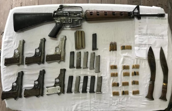 The weapons seized from the arrested ultras in Kokrajhar, Assam, on Tuesday. Photo credit: army