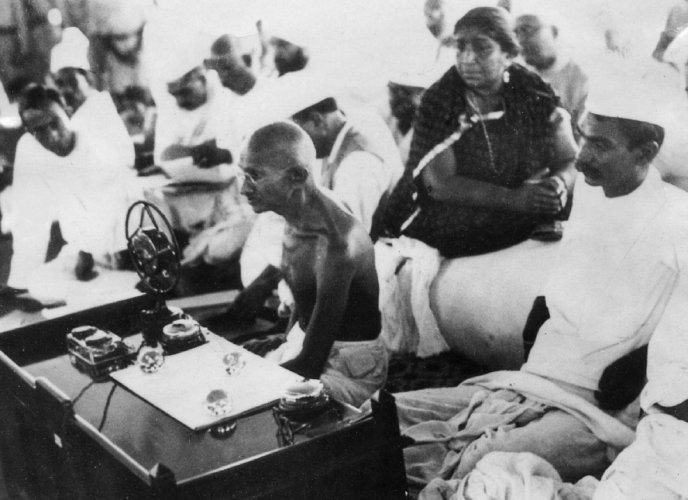 In this file photo taken on November 5, 1934 Mohandas Karamchand Gandhi, better known as Mahatma Gandhi, delivers a speech at the All-India Congress Committe in Mumbai. (Photo by - / AFP)