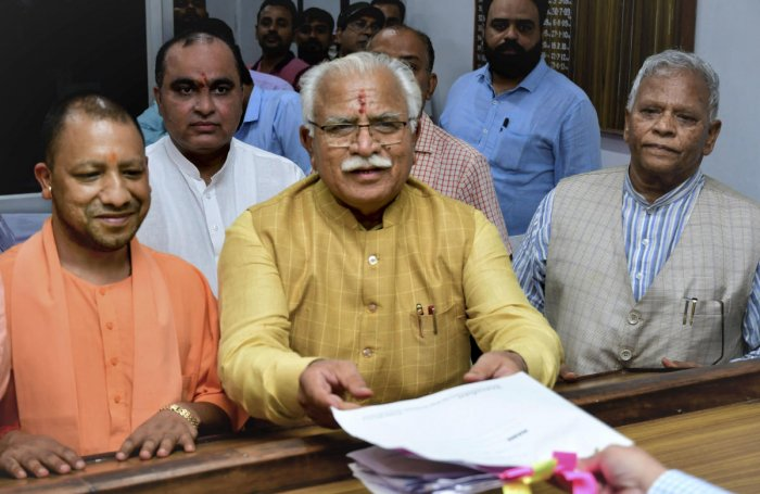 Haryana Chief Minister Manohar Lal Khattar files nominations from Karnal assembly seat at SDM Office. PTI Photo
