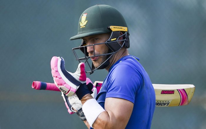 South Africa's Faf du Plessis during a training session ahead of their first Test against India in Visakhapatnam. PTI