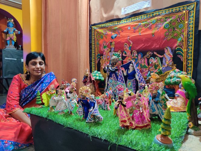 Veena Ravi with dolls from her 'Glories of Vrindavan' collection.