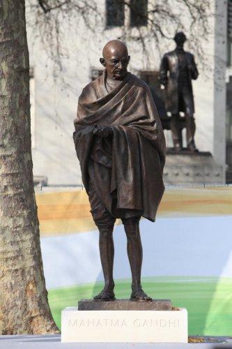 Mahatma Gandhi's statue at Parliament Square in London (DH File Image)