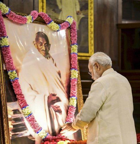 PM Modi pays tribute to Mahatma Gandhi on his 150th anniversary. (PTI Photo)