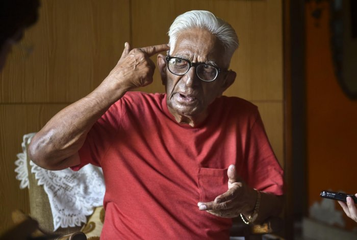 Walter Alfred, a 99-years old journalist, who served Press Trust of India. (PTI Photo)