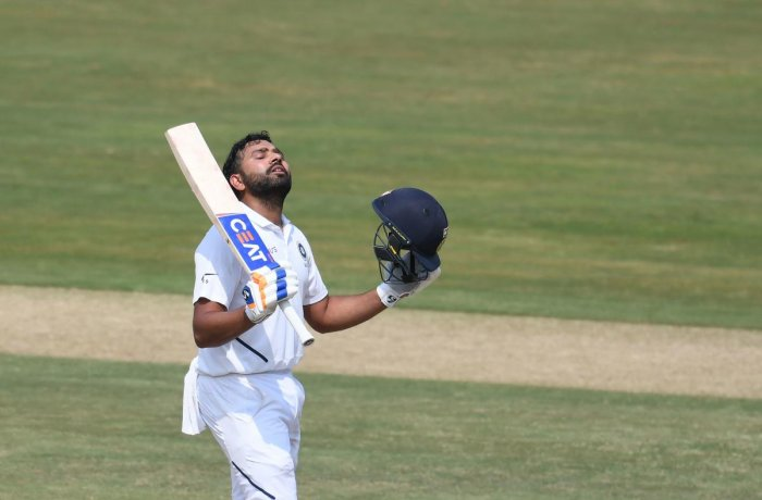 India's newest Test opener Rohit Sharma is a picture of poise after reaching his century against South Africa on the opening day of the first Test in Visakhapatnam on Wednesday. AFP