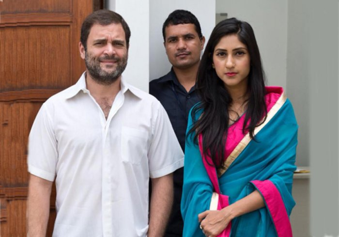 Aditi Singh with Rahul Gandhi. (DH File Photo)