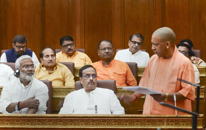 Uttar Pradesh Chief Minister Yogi Adityanath addresses during the 36-hour special session in the UP Assembly to mark the 150th anniversary of Mahatma Gandhi, in Lucknow