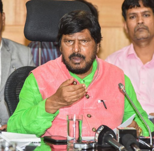 Ramdas Athawale, Union Minister of State for Social Justice and Empowerment speaking in a press conference. (DH Photo)