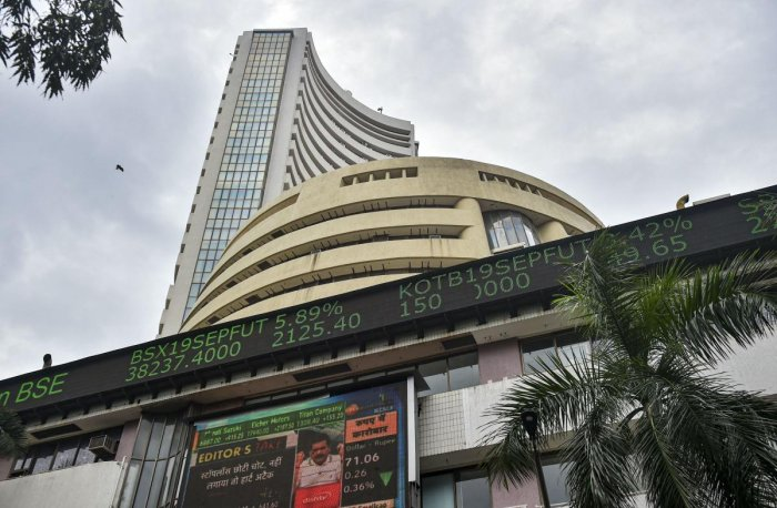 Stock prices displayed on a digital screen outside BSE building, in Mumbai. (PTI Photo)