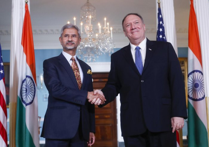 Secretary of State Mike Pompeo, right, shakes hands with Indian counterpart Subrahmanyam Jaishankar, left, at the US State Department in Washington. (Photo by AP/PTI)