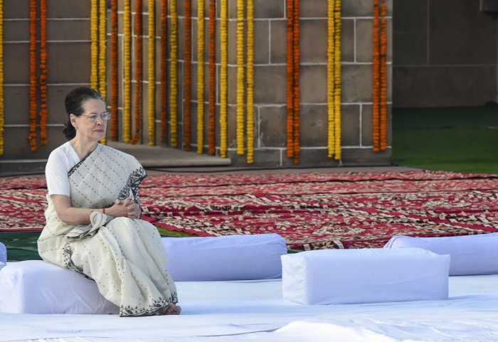 Congress President Sonia Gandhi during a tribute-paying ceremony to Mahatma Gandhi on the occasion of his 150th birth anniversary at Rajghat, in New Delhi, Wednesday, Oct. 2, 2019. (PTI Photo)