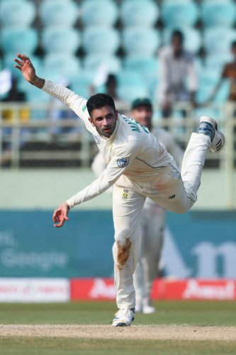 South Africa's Keshav Maharaj in action on the second day of the first Test against India in Visakhapatnam on Thursday. AFP