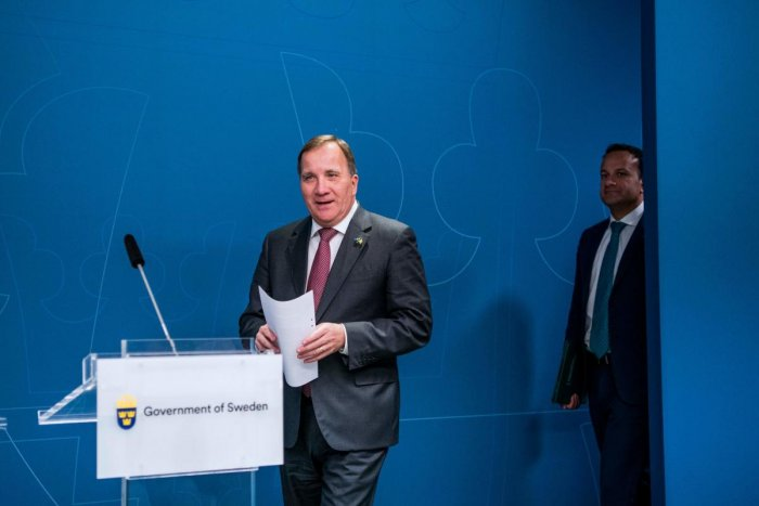 Swedish Prime Minister Stefan Lofven (L) and Ireland's Taoiseach, prime minister, Leo Varadkar arrive to give a press conference following a meeting on October 3, 2019 in Stockholm. (AFP)